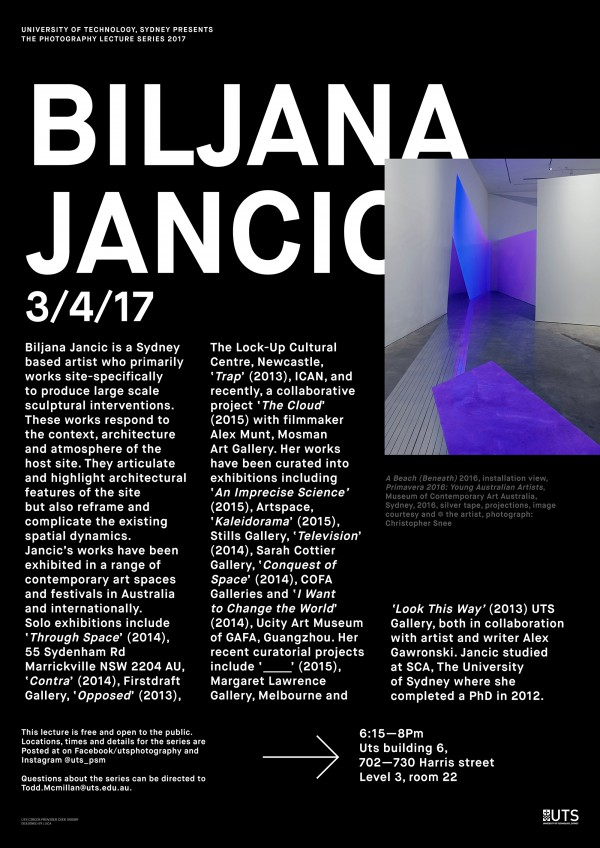 Poster for UTS Photography Lecture Series - Biljana Jancic